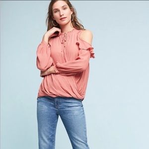 ANTHRO MAEVE | Cold Shoulder Ruffle Faux Wrap Top